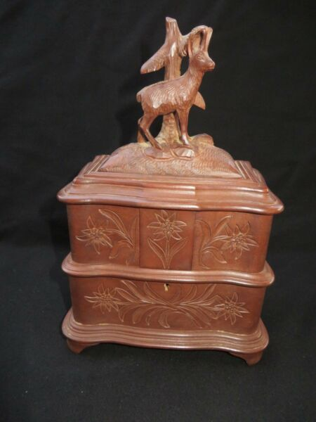 Antique Victorian Black Forest Carved Wood Stag Jewelry Box W Key. Very Nice