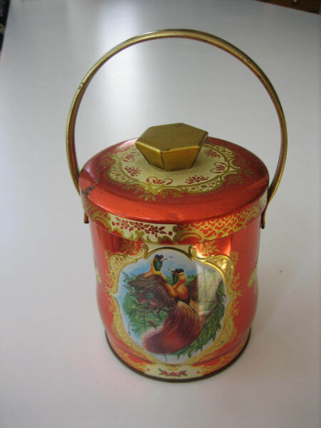 Vintage MURRAY ALLEN Red COCKADE Bird Confections Lunch Pail Tin - ENGLAND