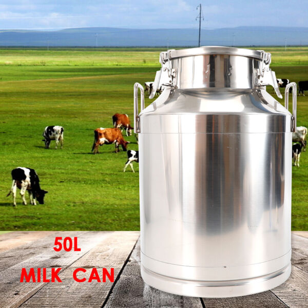 50L Stainless Steel Milk Can Pail Bucket Barrel Canister USA STOCK