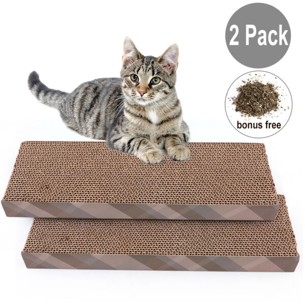 2 Pack Cat Scratcher Cardboard Pet Kitty Scratch Bed Sofa Lounge Pad with Catnip