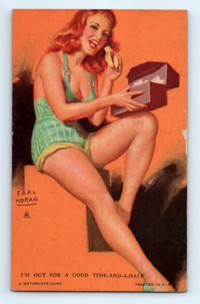 WW2 Vintage 1940-1945 EARL MORAN Out for Good Time PIN-UP Risque MUTOSCOPE CARD