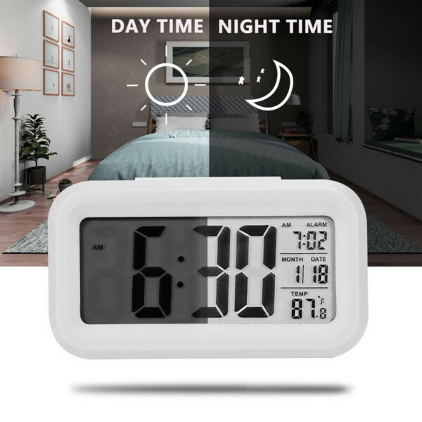 Digital  LED Alarm Clock Backlight Time Calendar Thermometer Temperature u