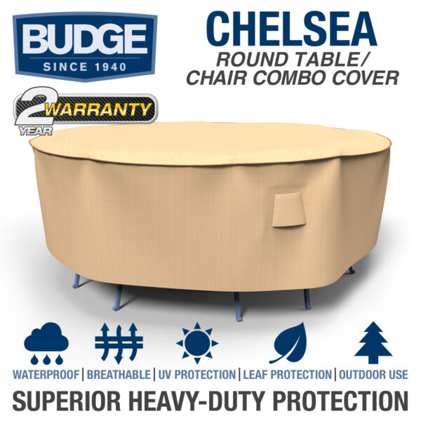 Budge Chelsea Round Waterproof Patio Table and Chair Combo Cover Multiple Sizes $60.95
