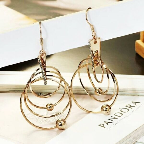 Thick 18K Coffee Gold Filled Crystal Linked 4 Circles Bead Dangle Earrings
