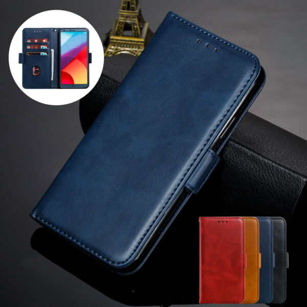 For LG Q6 G6 V30 G7 ThinQ Phone Case Strap Leather Card Slots Stand Magnet Cover