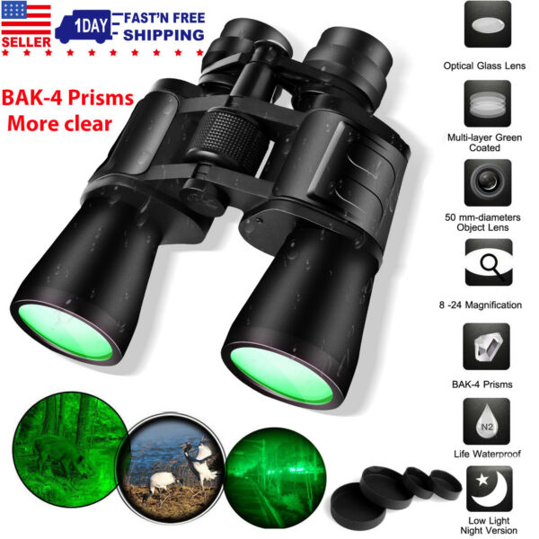 180x100 Zoom Low Night Vision Outdoor Travel Binoculars Hunting Telescope Case