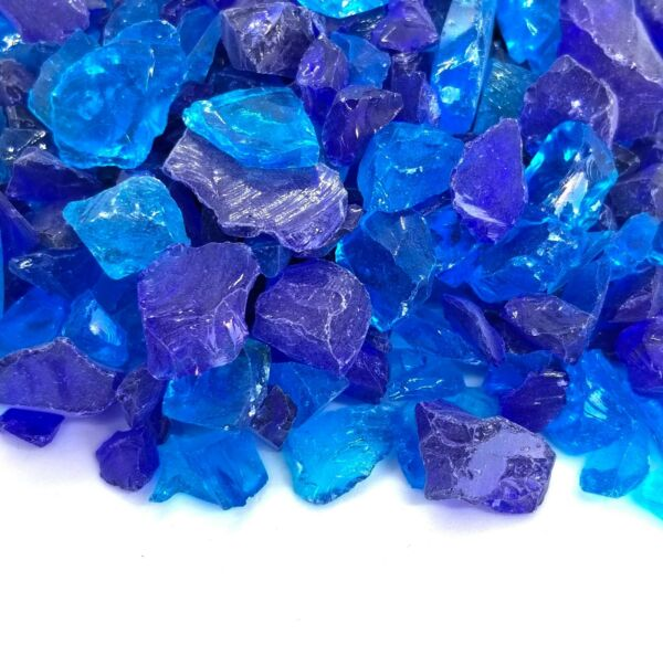 Caribbean Blue 1 2quot; 1quot; Premium Large Fire Glass for Fireplace and Fire Pit