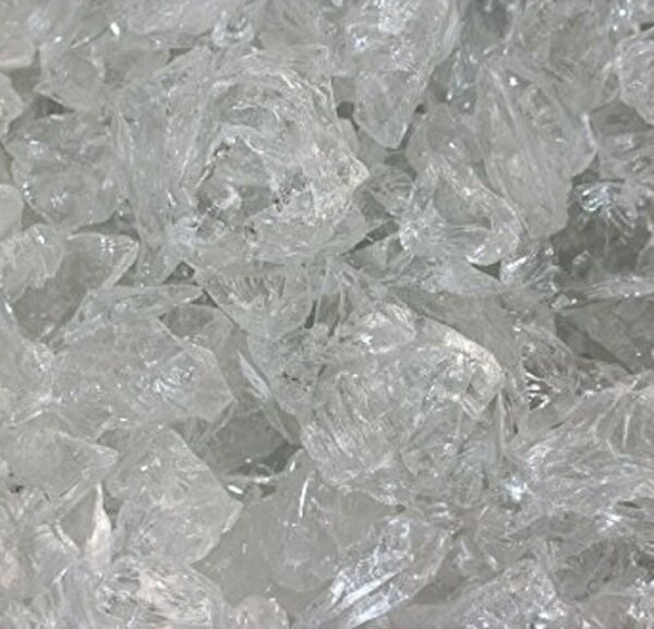 Clear Ice White 1 2quot; 1quot; Premium Large Fire Glass for Fireplace and Fire Pit