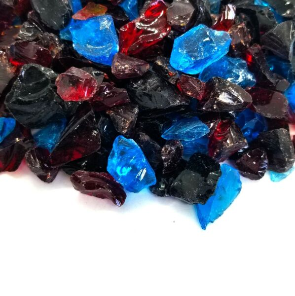 Red Blue Black 1 2quot; 1quot; Premium Large Fire Glass for Fireplace and Fire Pit