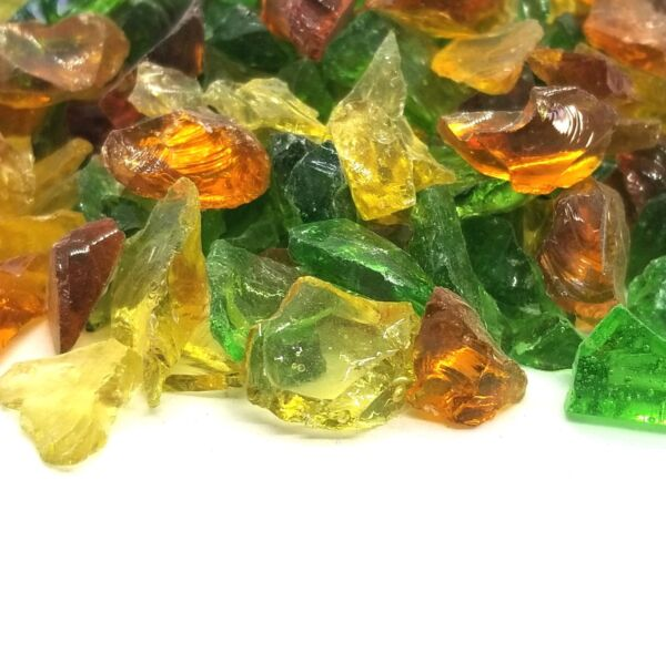 Green Amber Gold 1 2quot; 1quot; Premium Large Fire Glass for Fireplace and Fire Pit