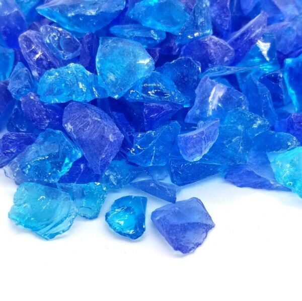 BLUE TURQUOISE 1 2quot; 1quot; Premium Large Fire Glass for Fireplace and Fire Pit