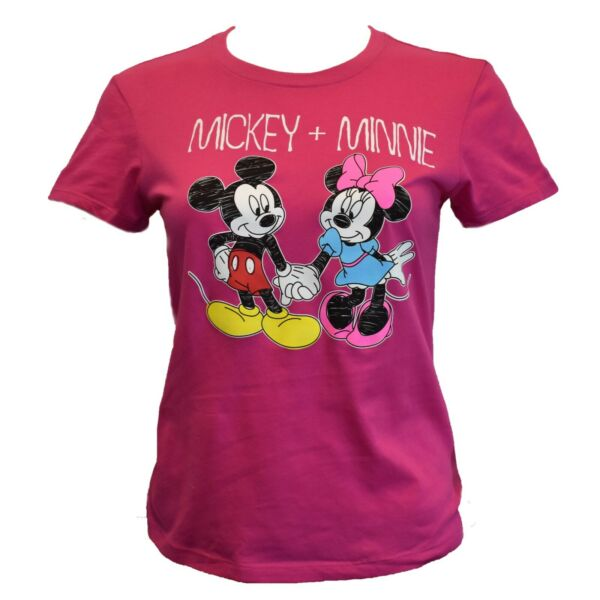 DISNEY Junior's T-shirt Top - MICKEY AND MINNIE MOUSE - Disneyland Pink Tee NEW