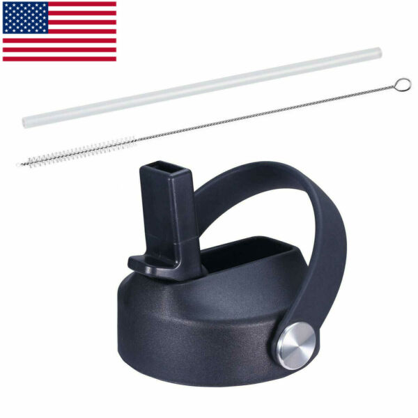 Black-Straw Lid for Hydro Flask Wide Mouth Water Bottle with Straws