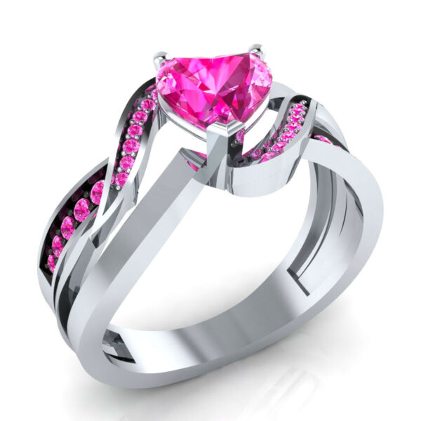 14k White Gold GP 0.90 Ct Love Heart Shape Pink Sapphire Wedding Engagement Ring