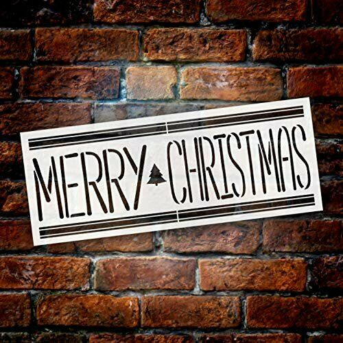 Merry Christmas with Tree Holiday Word Art Stencil by StudioR12  Wood Signs