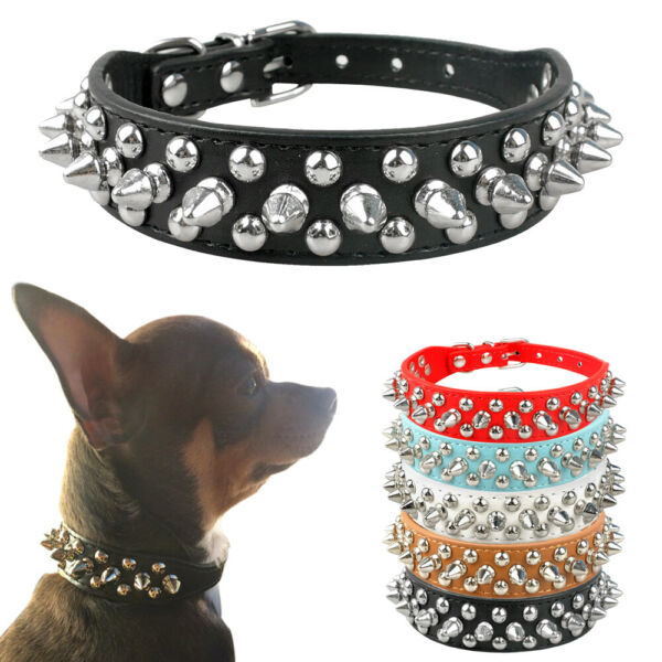 Spiked Studded Dog Collars PU Leather for Small Puppy Dog Chihuahua Red Necklace $4.99