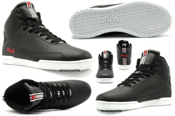 NEW MENS FILA CLASSIC WISTERIO MID HIGH TOP BLACK WHITE LACE UP SNEAKERS SHOES