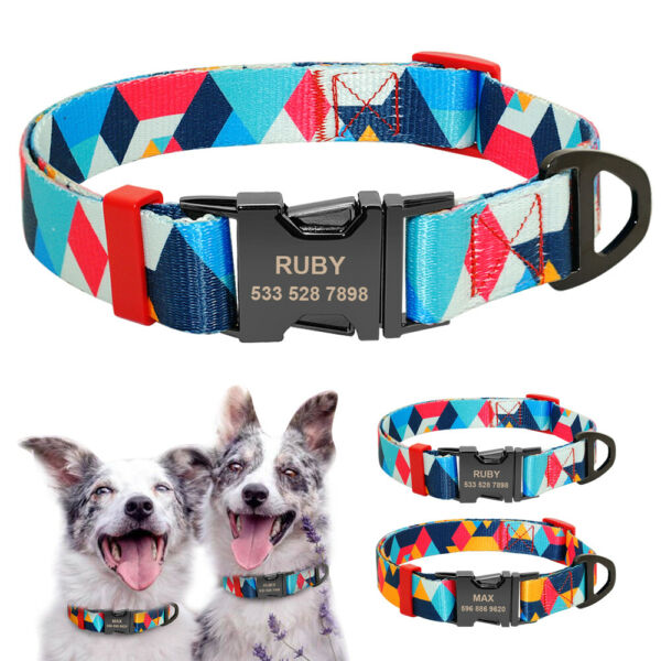 Nylon Personalized Dog Collars Name Tags Engraved Small Large Dogs ID Custom S L $8.99