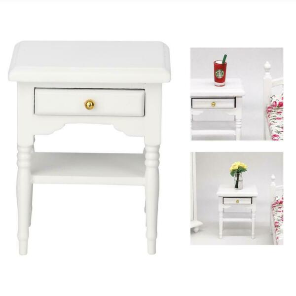 1:12 White Mini Bedroom Furnishing Articles Wooden Bedside Table Model Toys SG
