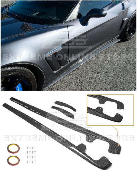 For 05-13 Corvette C6 Z06  ZR1 Style HYDRO CARBON FIBER Side Skirts Mud Flaps