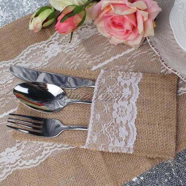 100Pcs Lace Burlap Pouch Fork Knife Cutlery Holder for Wedding Party Table Decor