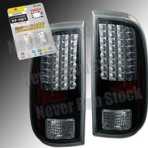 FORD F250 F350 F450 BLACK CLEAR LED TAIL LIGHTS + WHITE LED LICENSE PLATE BULBS