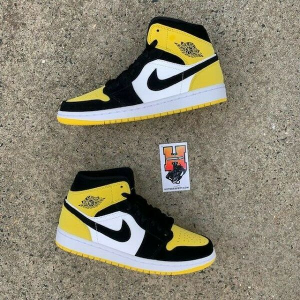 2019 Nike Air Jordan Retro 1 Mid Yellow Toe 852542-071 New Size: 10-14
