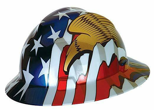 MSA 10071159 Full Brim V-Gard Hard Hat WStars & Stripes & Eagles Freedom Series