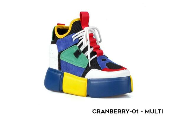 Cranberry-01 Anthony Wang Hidden Wedge Heel Multicolor Platform Fashion Sneakers