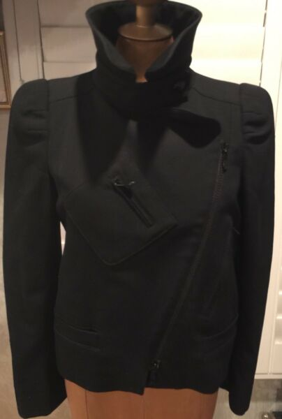 $2000 GUCCI 100% AUTHENTIC JACKET BLACK SINGLE BREASTED BLAZER ZIPPER 44