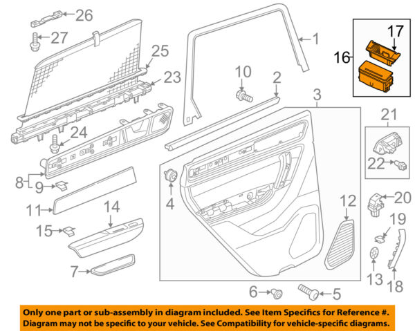 VW VOLKSWAGEN OEM 11-16 Touareg Interior-Rear Door-Ashtray Left 4G8857405A81U