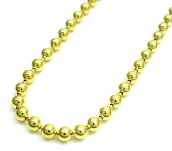 10k Yellow Gold 4mm Mens Womens Plain Military Dog Tag Chain Necklace 16