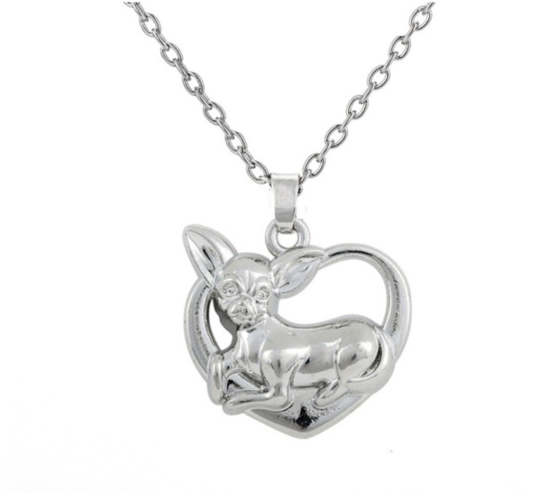 Chihuahua necklace Dog Silver tone heart shape pet lover dogs rescue $10.25