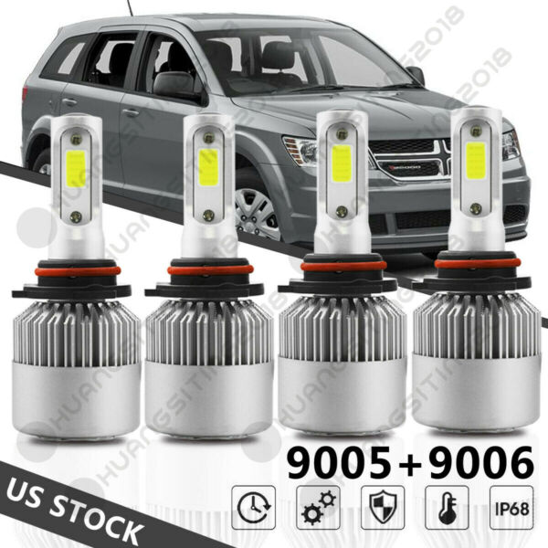 For 2009-2017 Dodge Journey  -4PC Combo 9005 + 9006 LED Headlight Lamps Bulbs US