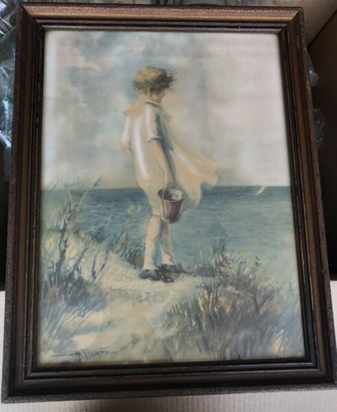 Early 20th Cent. Hand Colored Girl wPail by Sea Lithograph signed M. Stokes
