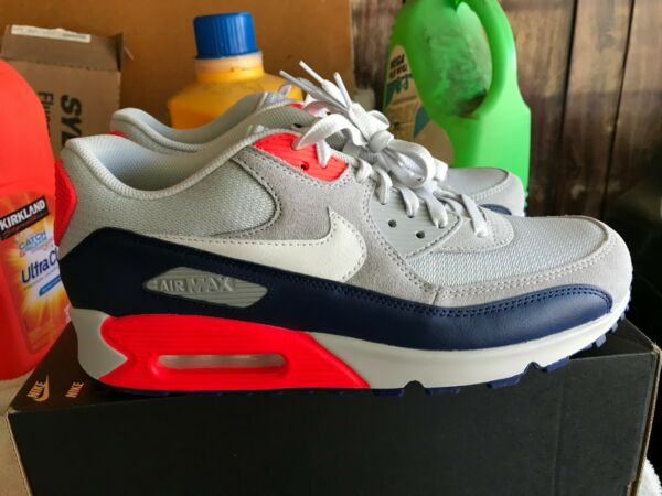 NEW Nike ID Air Max 90 Infrared grey navy running shoesSize 9.5 BQ8747 991