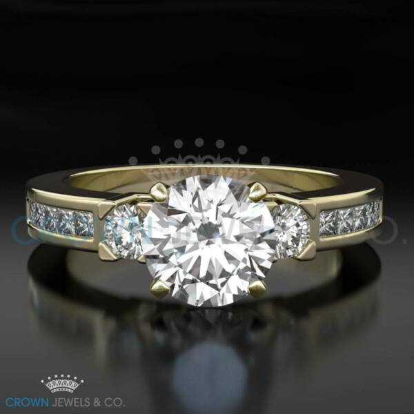 Round Cut Anniversary Diamond Ring 2.00 ct Enhanced D SI1 Yellow Gold