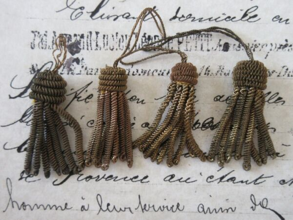 4 VintageAntique French Dark Gold Metallic Bullion Tiny 1 38