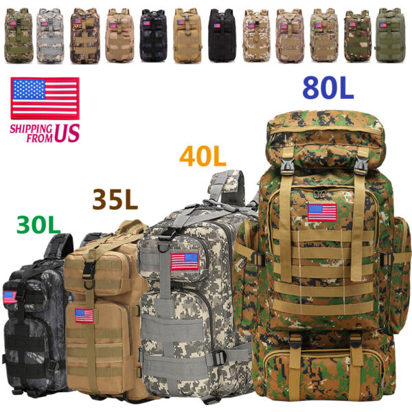 30L 40L 80LOutdoor Military Tactical Backpack Rucksack Camping Bag Travel Hiking $30.20