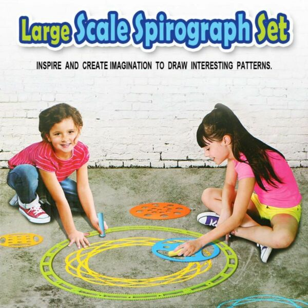 Large Scale Spirograph Set Outdoor Indoor Large Drawing Toy 9 Stencilsamp;3 Chalk $26.79