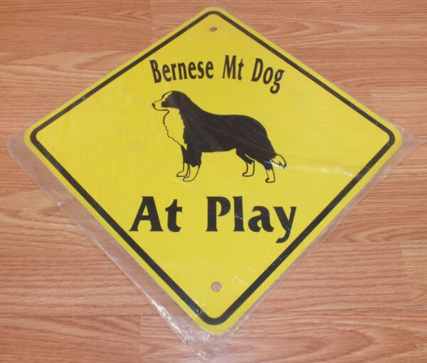 Black & Yellow Bernese Mountain Dog at Play Collectible Home  Fence Sign