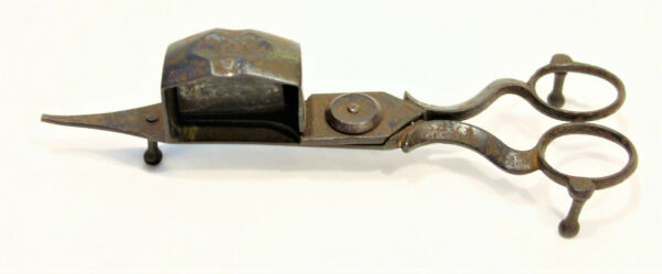 ANTIQUE SPRING ACTION CANDLE WICK SNUFFER TRIMMER SCISSORS
