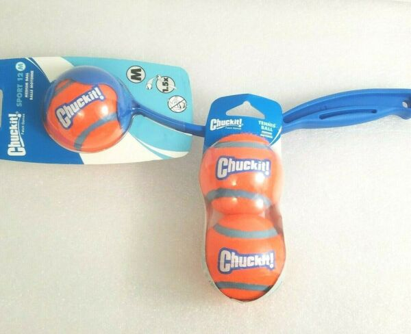 Chuckit! Sport Launcher Dog Ball Thrower Fetch 12M Petmate 2 Medium Tennis Balls