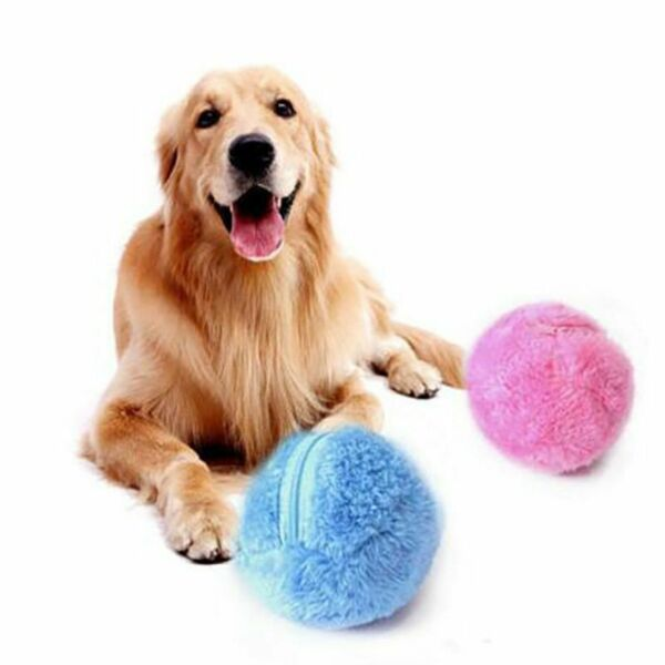 Magic Roller Plush Ball Dog Cat Toy Active Automatic Ball Chew Floor Clean Toys $15.78