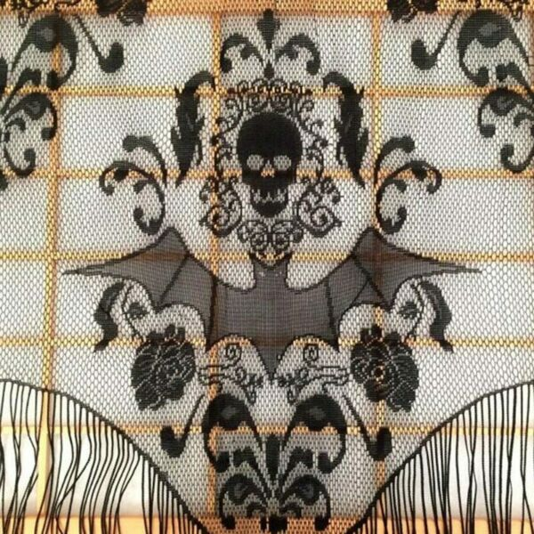 Skull Bat Web Curtain Halloween Haunted House Home Tassel Curtain Party Supplies
