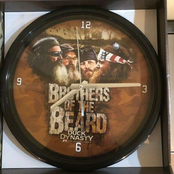 Duck Dynasty Brothers of the Beard 12 Inch Black Clock Battery Memory Company