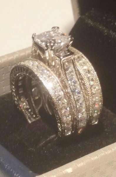 4 Ct Princess Diamond Antique Engagement Ring Wedding Band Sterling White Gold