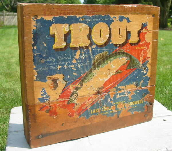 Vtg Antique Trout Apple Produce Box Crate Wheel Plant Stand Caster Rolling Caddy