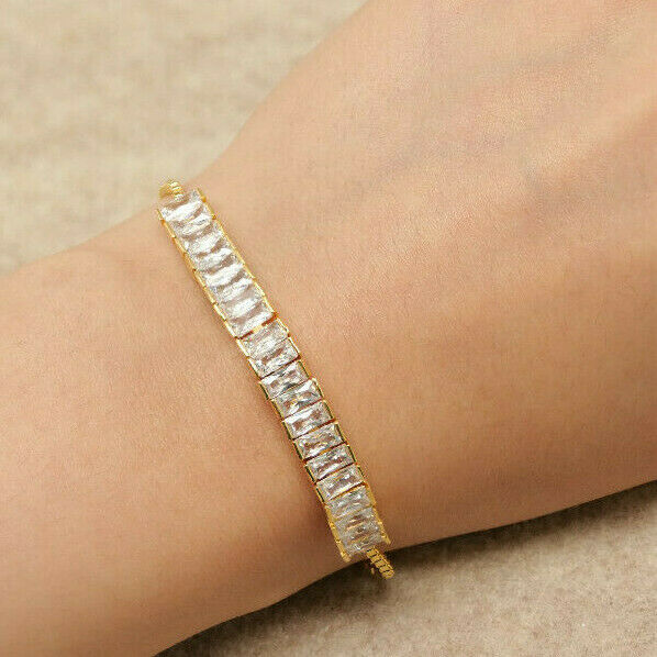 10k YELLOW GOLD FINISH Diamond Emerald Cut Adjustable Bracelet fits most 3ct Br5