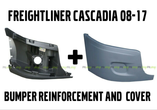 Freightliner Cascadia Bumper Right Side Reinforcement amp; Cover With NO Fog Hole